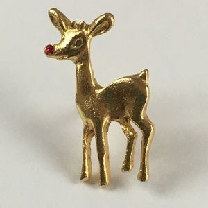 Vintage Small Rudolph Red Nose Reindeer Pin